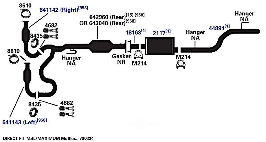 catalytic converter rear ap exhaust 642960 fits 02