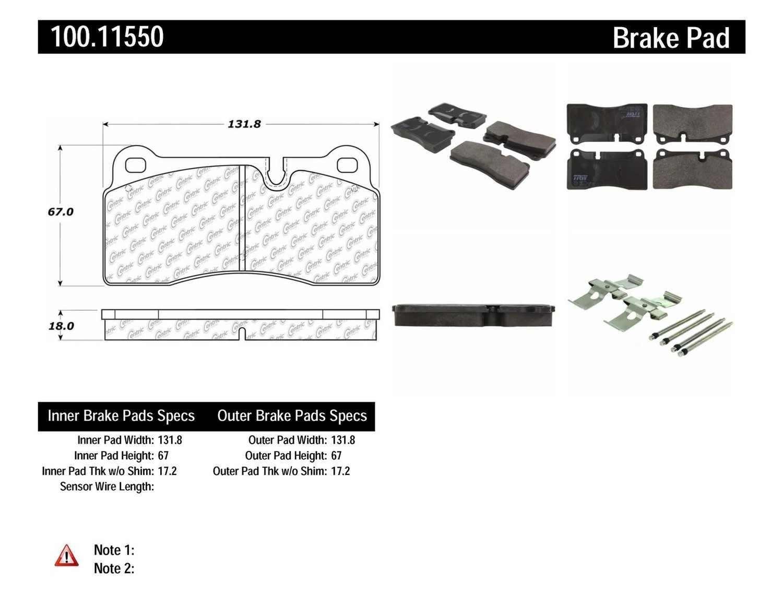 Imagen de Pastilla de Freno de Disco OE Formula Pads w Hardware Marca CENTRIC PARTS Número de Parte 100.11550