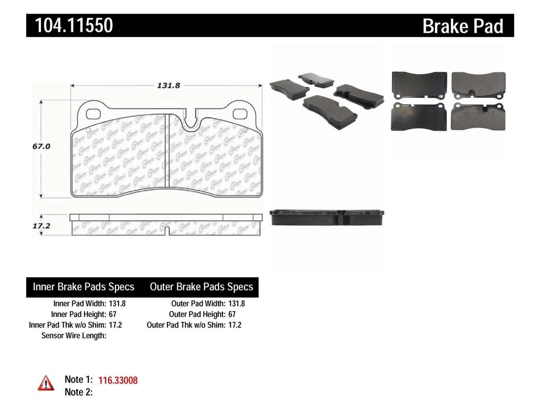 Imagen de Pastillas de Freno Posi-Quiet Metallic w Shims & Hardware-Preferred para Lamborghini Diablo 2001 Marca CENTRIC PARTS Número de Parte 104.11550
