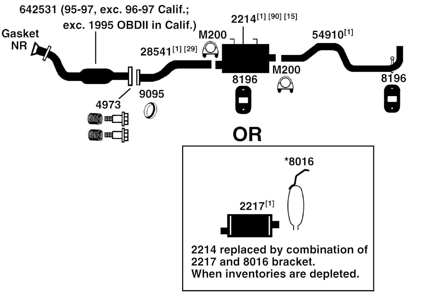 1996 FORD RANGER Exhaust Diagram Category: Exhaust Diagram Description