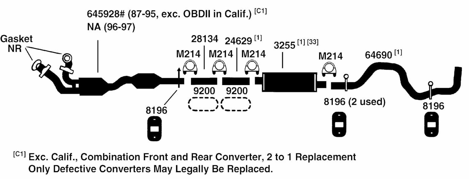 1990 ford f 150 exhaust system diagram