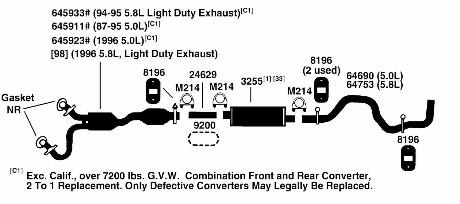 Ford Pickup F250 Exhaust Diagram From Best Value Auto Parts