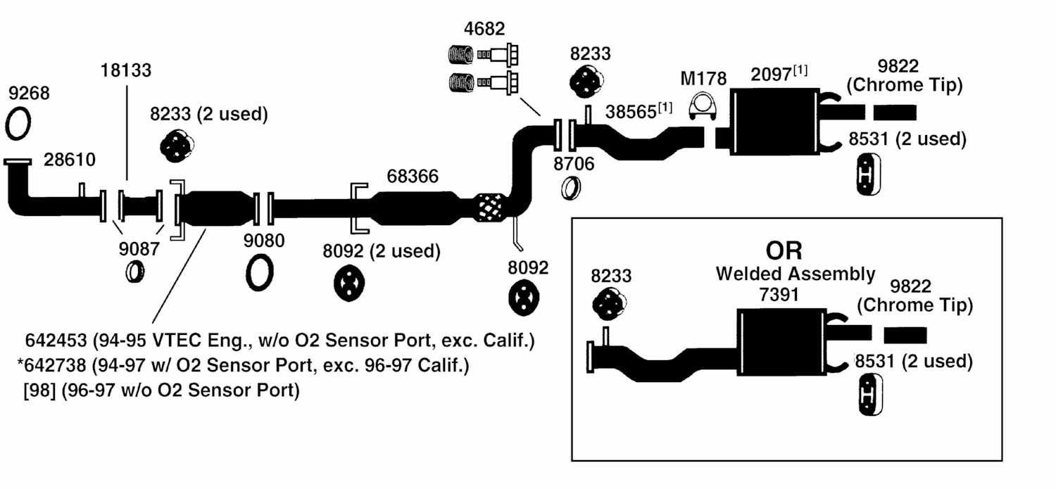 1994 honda accord exhaust system diagram wiring schematic
