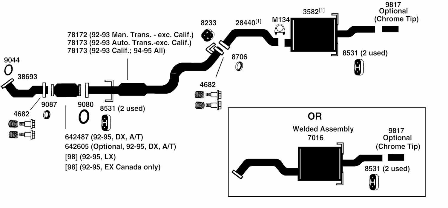 1997 Honda Civic Exhaust System Diagram