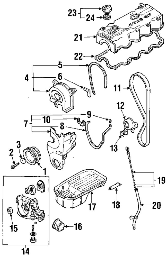 2002 hyundai accent automatic transmission parts diagram
