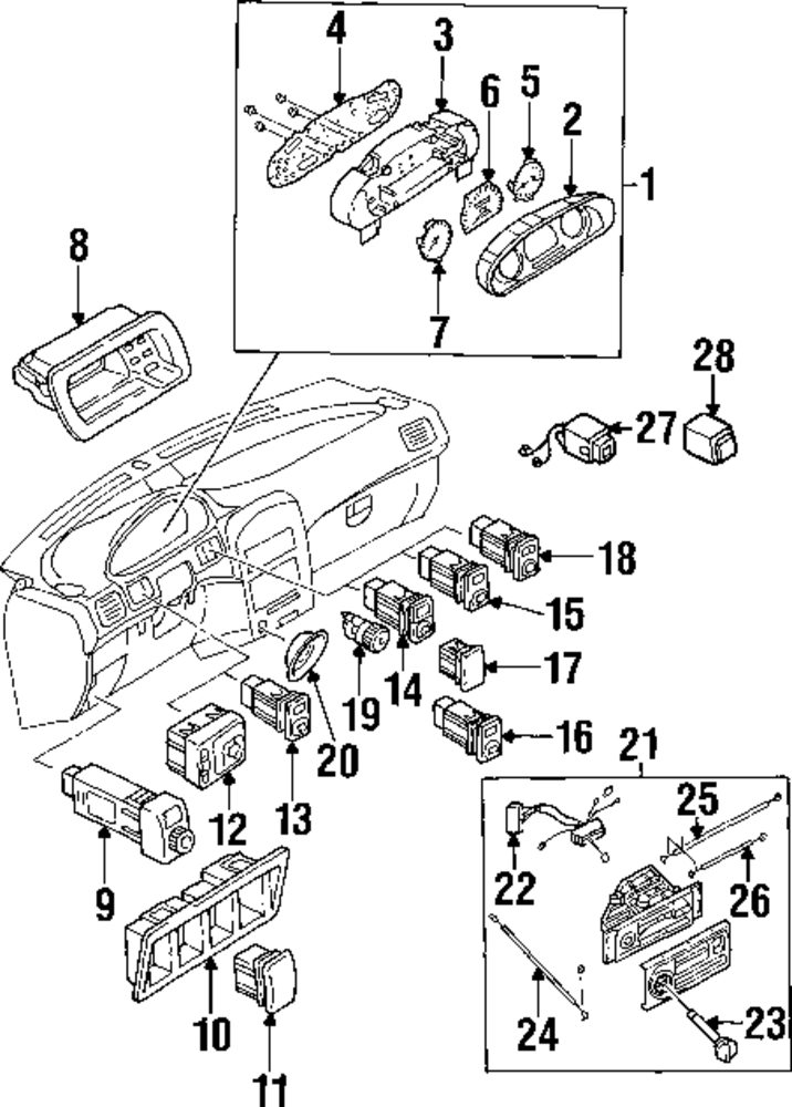 1992 Mercury Grand Marquis Cluster And Switches Parts