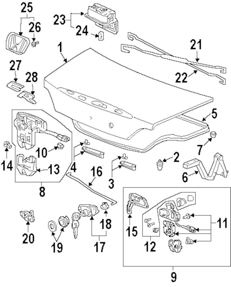 buy trunk lid exterior trim parts for 2009 honda s2000 vehicle S2000 Bumper Cut genuine honda nameplate hon 75710s2aa01