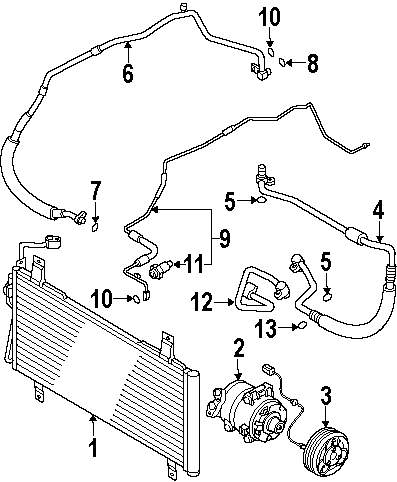2006 Mazda 6 Condenser Compressor And Lines Parts Mopardirectparts Engine Diagram Genuine Suction Hose Rear Seal Maz Gk2g61j17