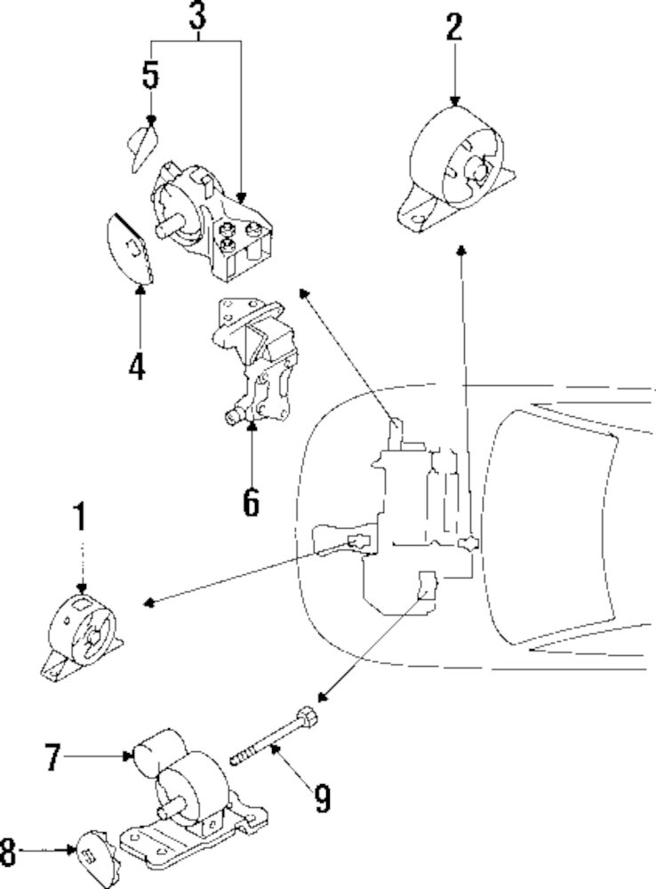 2001 Mitsubishi Mirage Engine And Trans Mounting Parts
