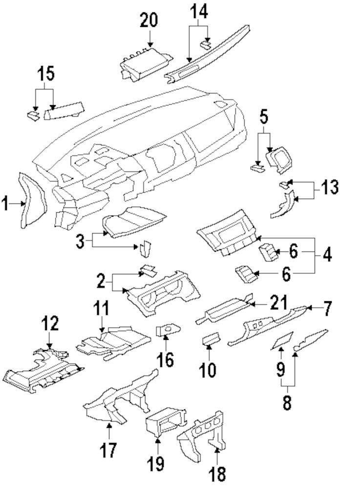 2009 Mercury Mariner Instrument Panel Components Parts