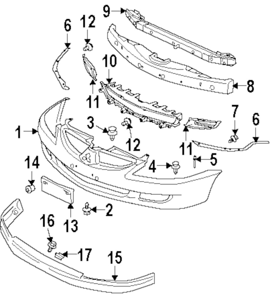chevrolet cobalt bumper diagram