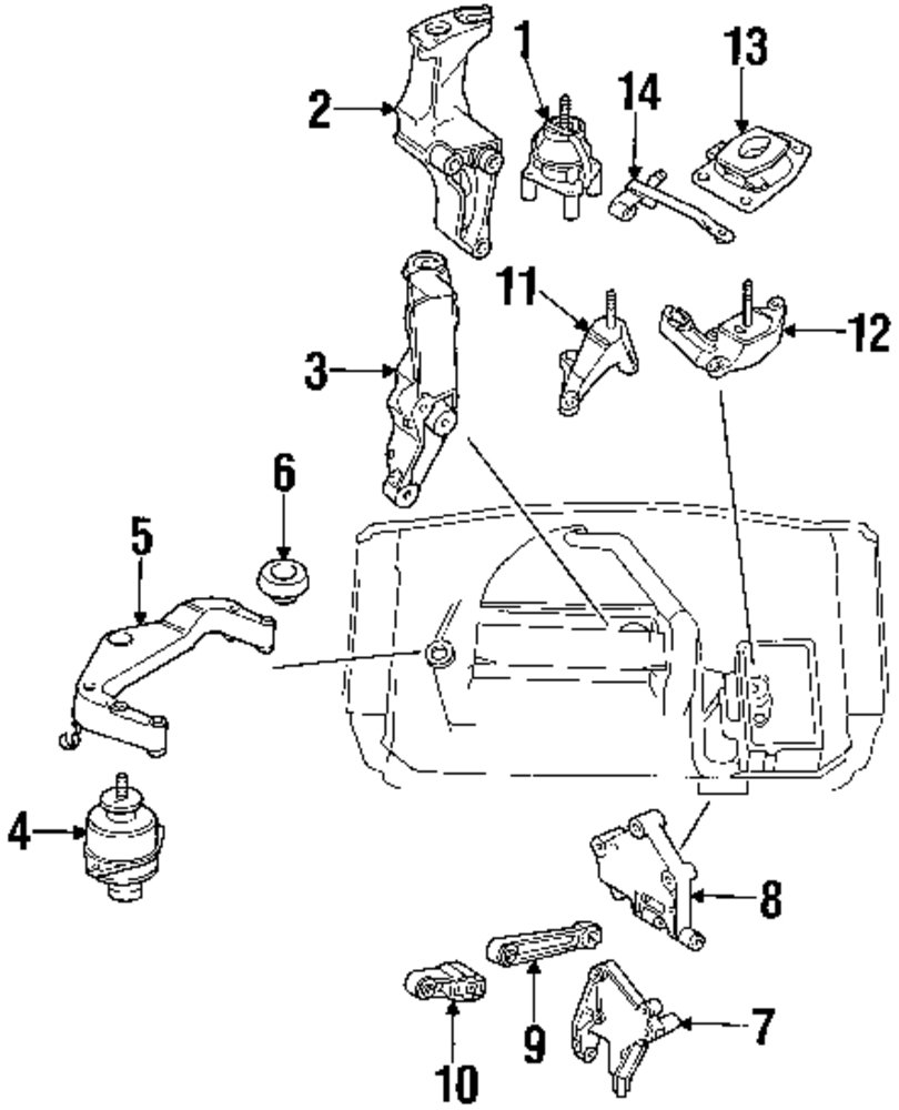 2002 saab 9 5 engine and trans mounting parts mopardirectparts com rh mopardirectparts com Motor Diagram 2003 Saab 9 3 2.0T Saab 900 Engine Diagram