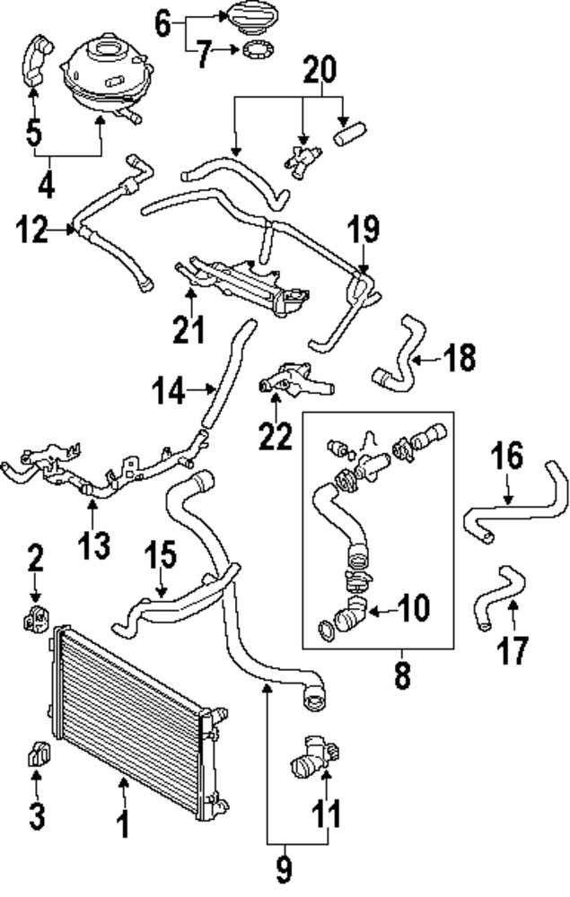 2001 Volkswagen Jetta Coolant System Diagram on jetta vr6 engine radiator