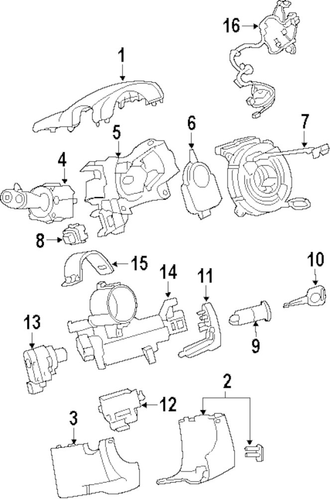 2008 Buick Enclave Steering Column Parts