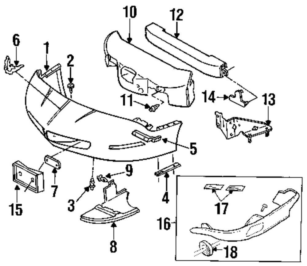 pontiac bumper cover diagram