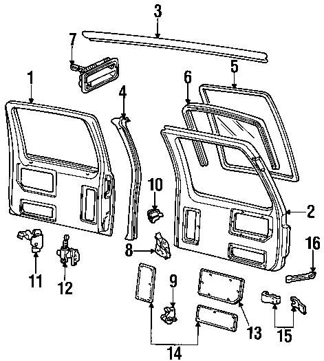 Ford Transit Connect Transmission Parts further Door And  ponents besides T4367523 Rear door will not open also 2006 Dodge Durango Cabin Filter Diagram also 55112463AC. on dodge ram door seal diagram