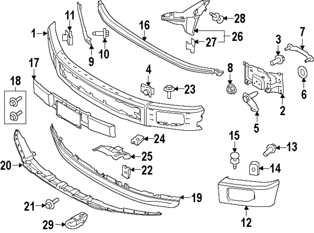 ford f 150 bumper diagram