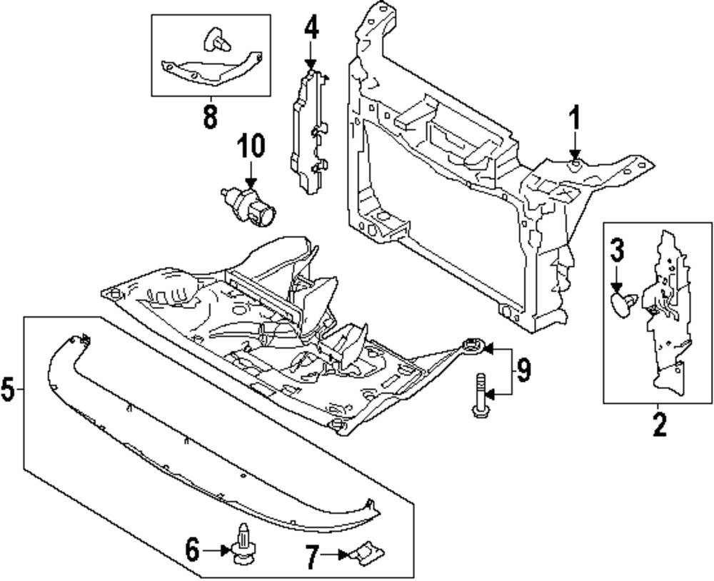 2001 ford excursion radiator support diagram