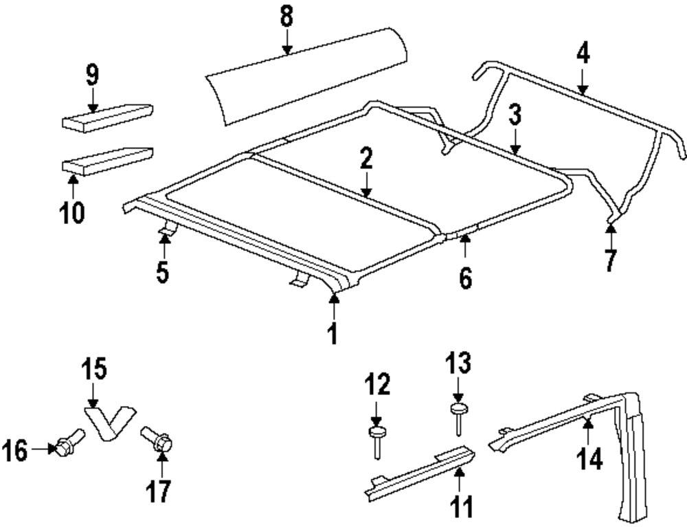 jeep soft top frame parts diagram