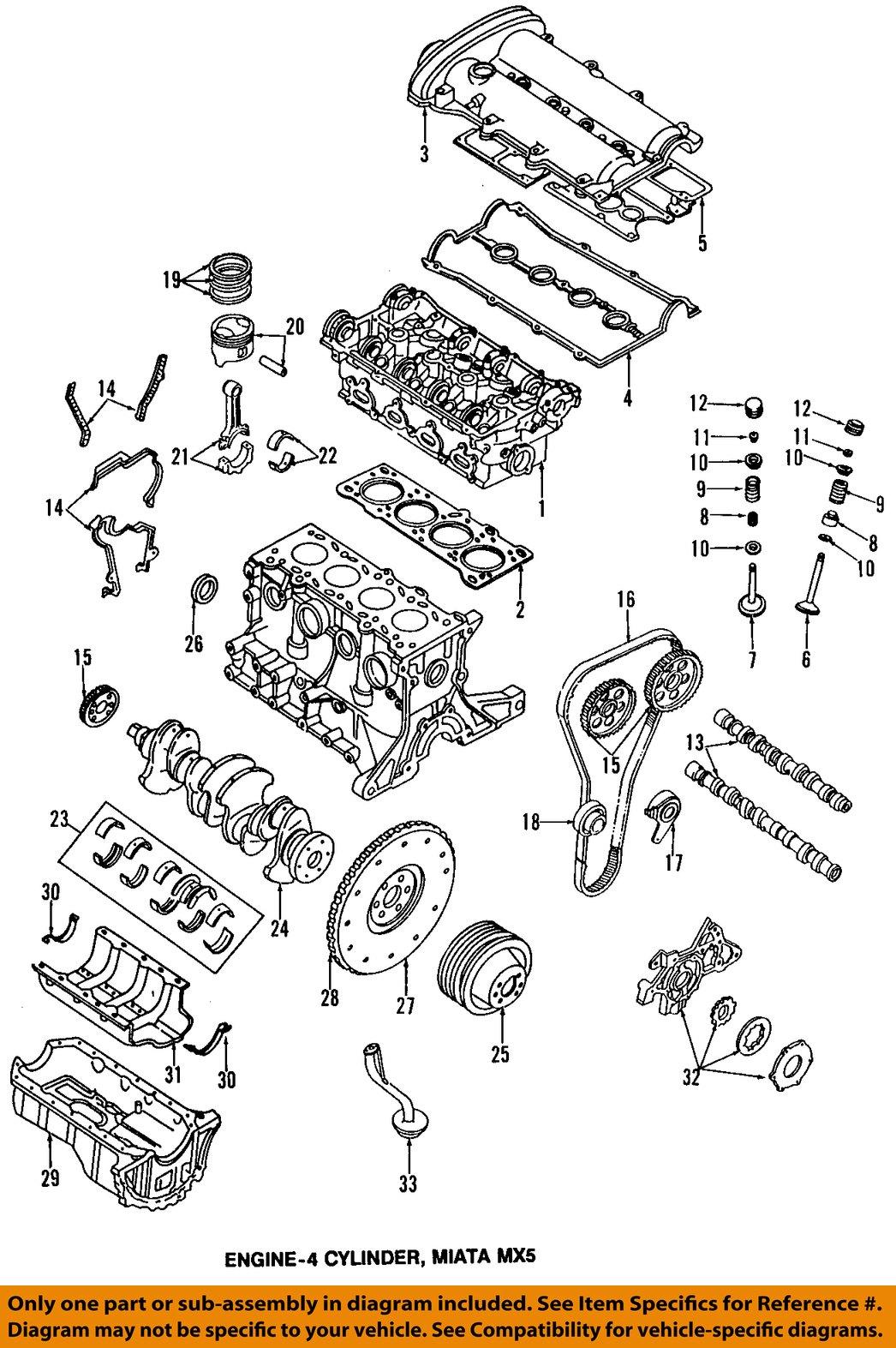 mazda oem 90-93 miata-valve cover gasket b61p10235b | ebay 2007 mazda miata engine diagram