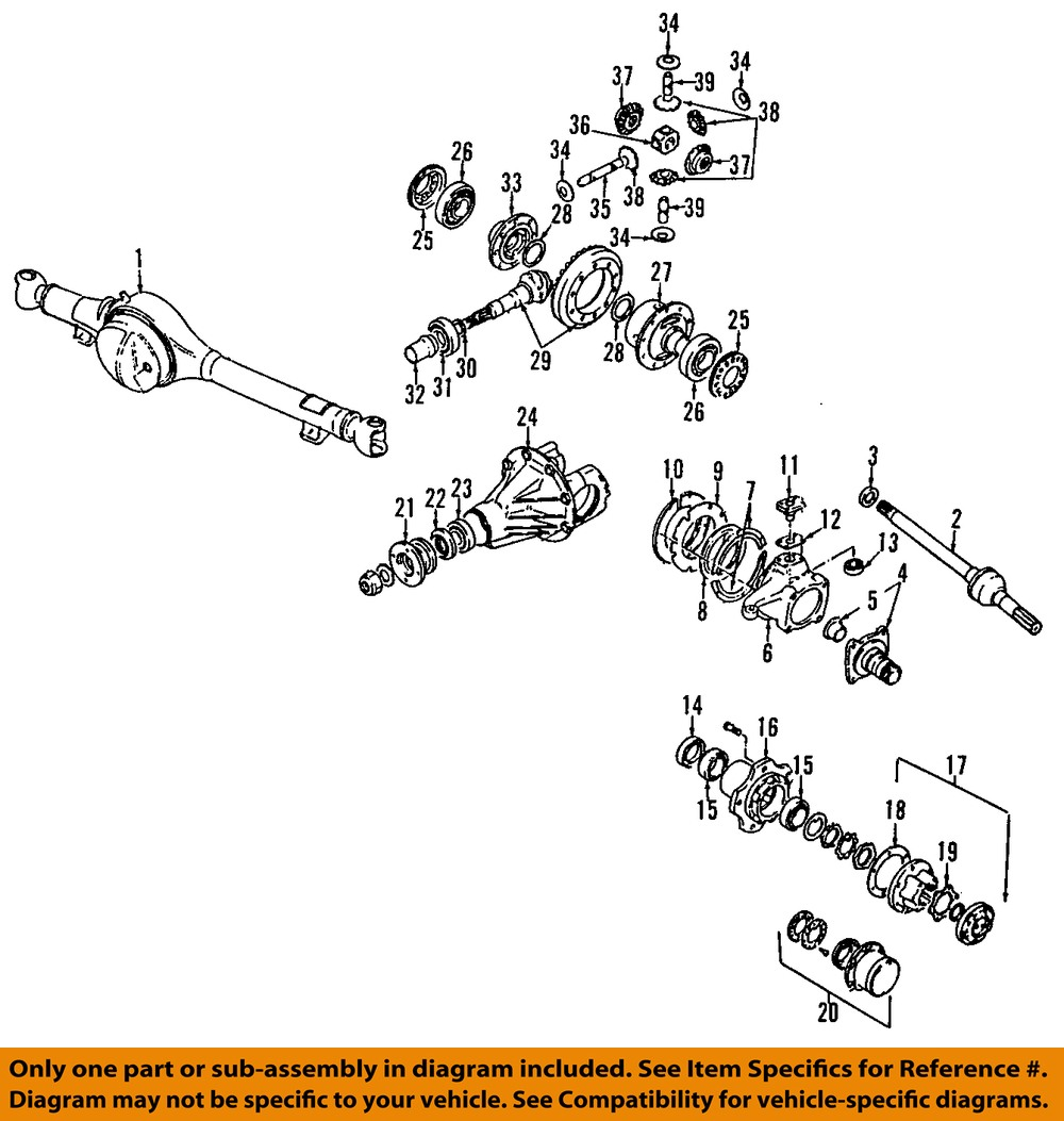 Samurai Front Axle Assembly : Suzuki oem samurai front axle bearing and hub