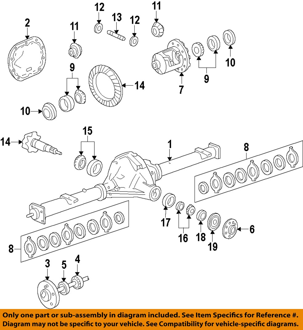 Ford Rear Axle Parts : Ford oem mustang rear differential side bearings