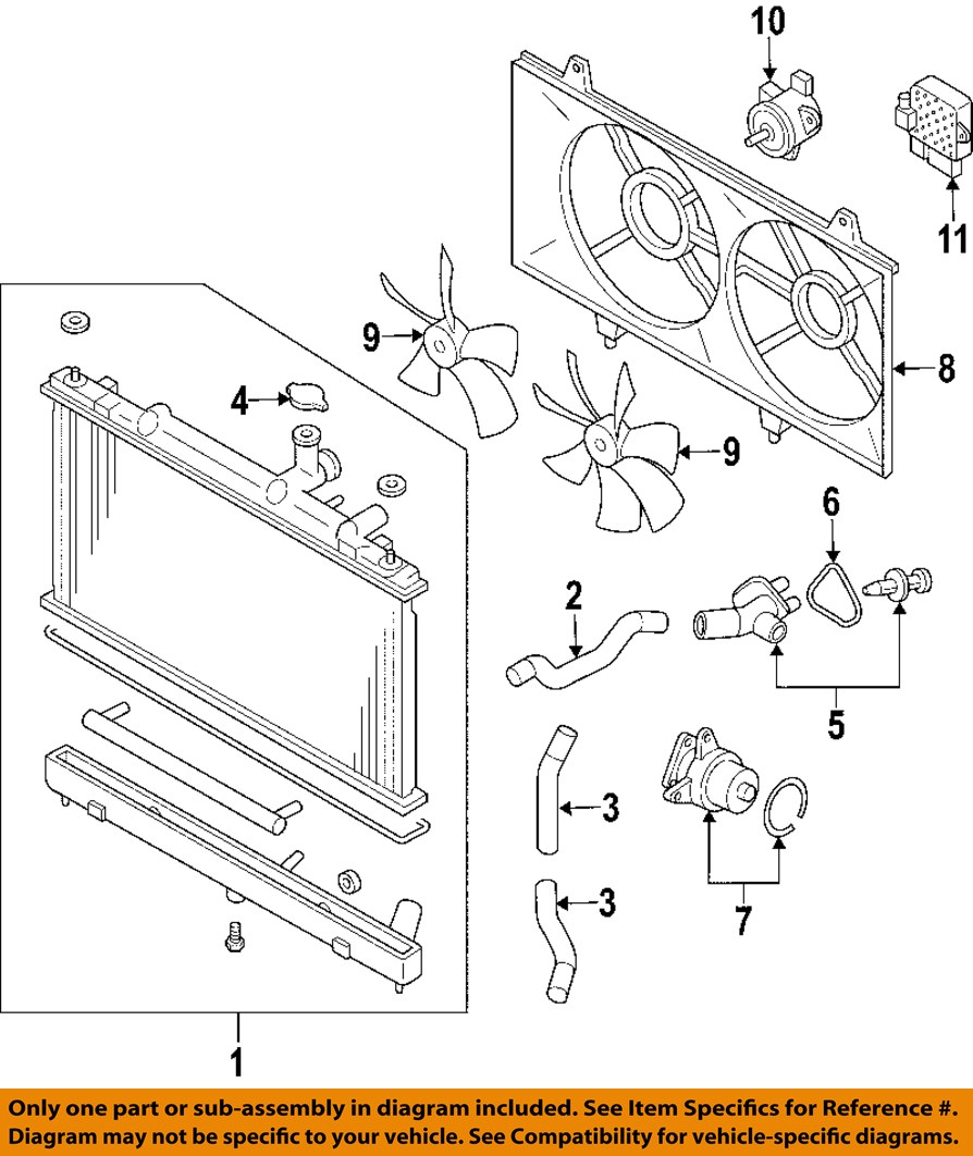 Mazda 626 Radiator Diagram Automotive Wiring 2002 Cooling System New Oem Rh Heavy Duty Cowling Fan 2007 2012