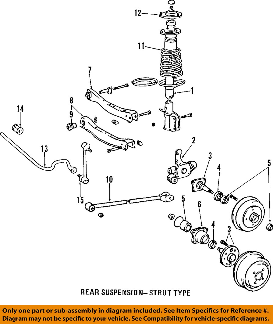 99 Toyota Camry Front End Diagram Wiring Diagrams 2009 Engine Oem Rear Suspension Strut Rod 4878048020 Honda Civic