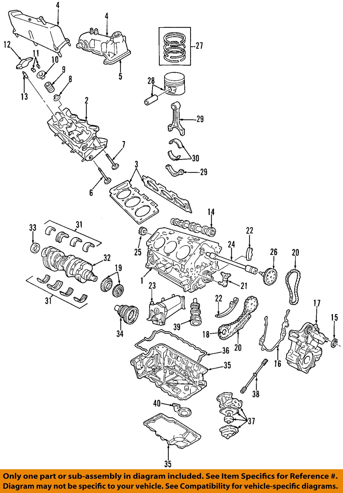 ford oem-engine crankshaft crank seal 5h2z6700aa | ebay 40 ford engine diagram crankshaft