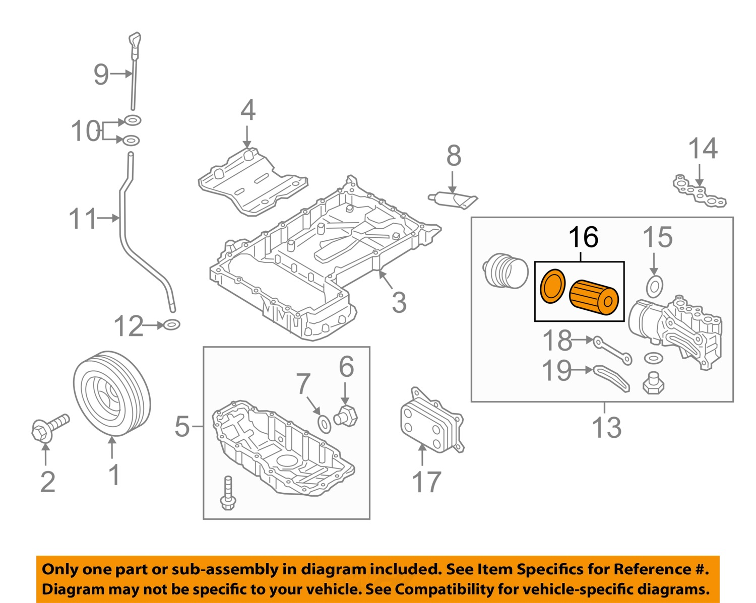 26320 3f500 Genesis Engine Diagram Hyundai Oem 14 15 Oil Filter 263203f500 Ebay