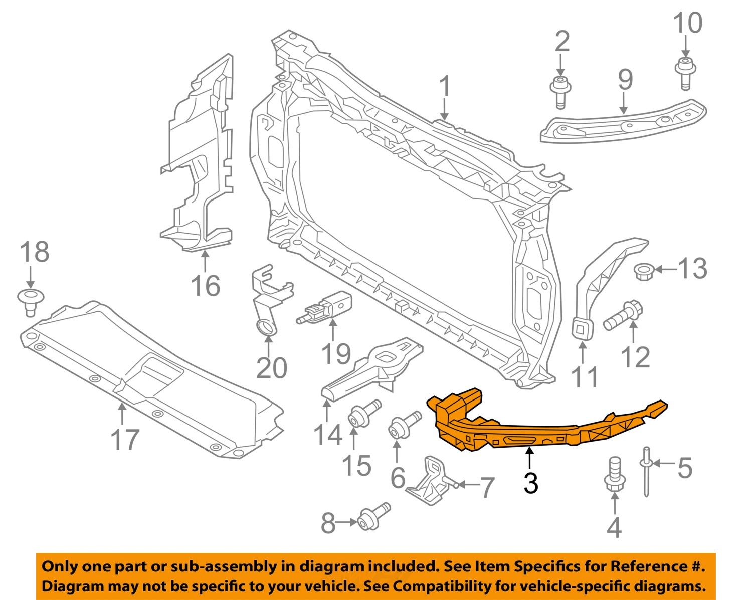 Audi Oem Q3 Radiator Core Support