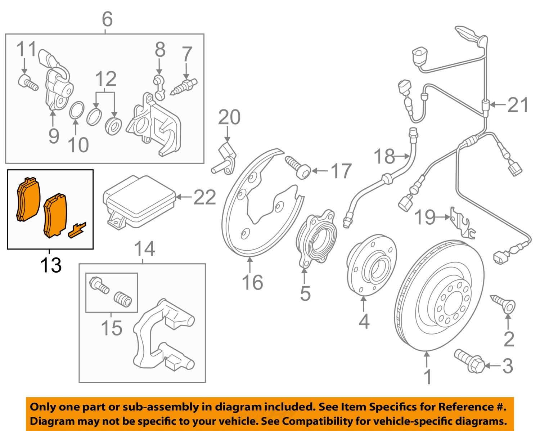 audi brakes diagram audi oem 09-11 q5 brake-rear pads 8k0698451a   ebay audi a4 brakes diagram