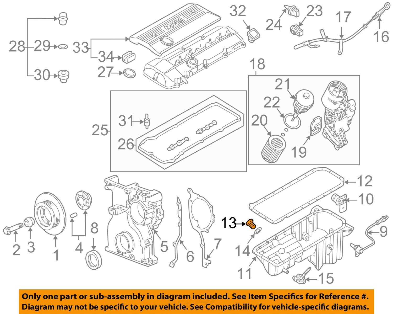 Sell Bmw Oem 99 02 Z3 25l L6 Engine Oil Drain Plug 11131273093 Diagram
