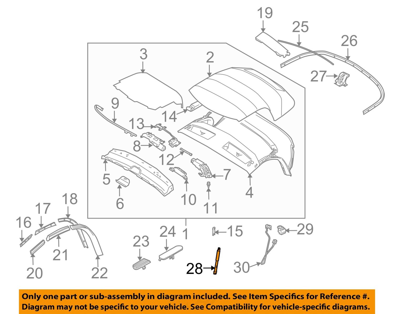 bmw oem 03 08 z4 convertible soft top strut support. Black Bedroom Furniture Sets. Home Design Ideas