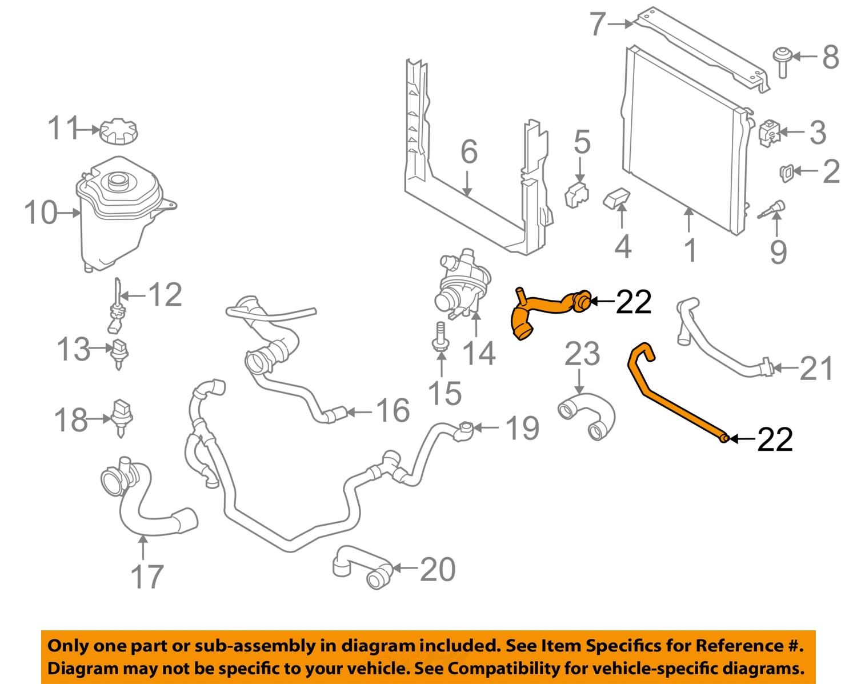 BMW    OEM 2010    X5    30LL6    Radiator   Heater    Hose    11537609944