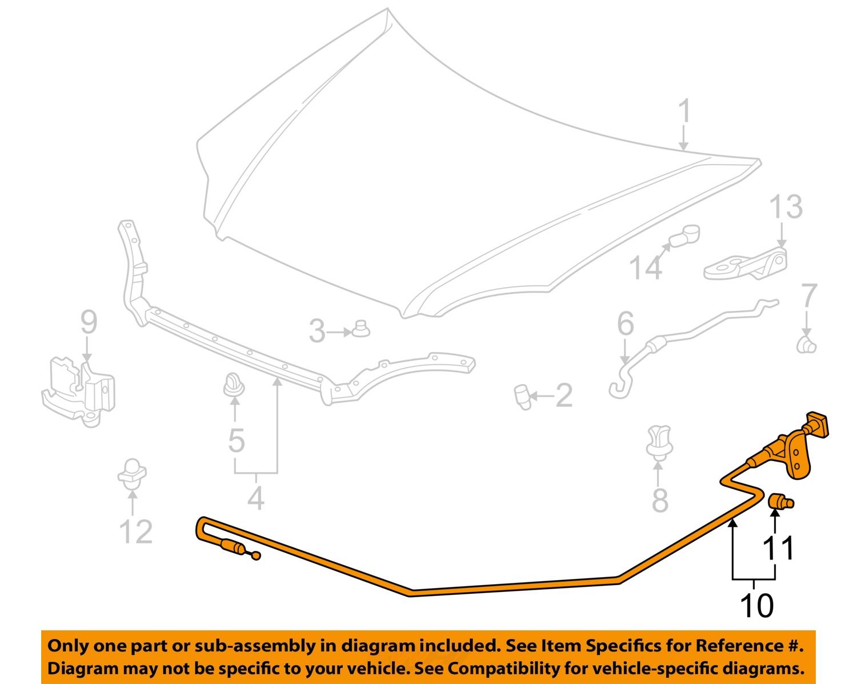 honda oem 96 00 civic hood latch lock release cable. Black Bedroom Furniture Sets. Home Design Ideas