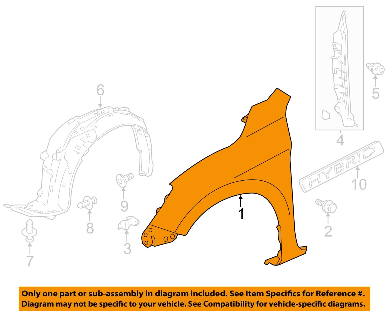 Buy Honda Oem 13 16 Accord Fender Right 60211t2fa90zz Motorcycle In Diagram