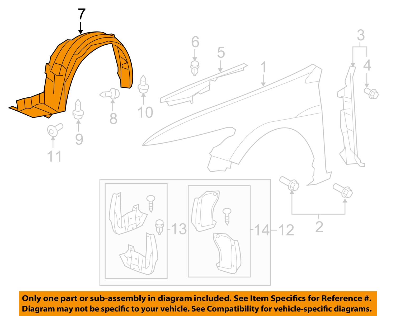 Buy Honda Oem 08 12 Accord 2dr Fender Liner Left 74150te0a01 Diagram