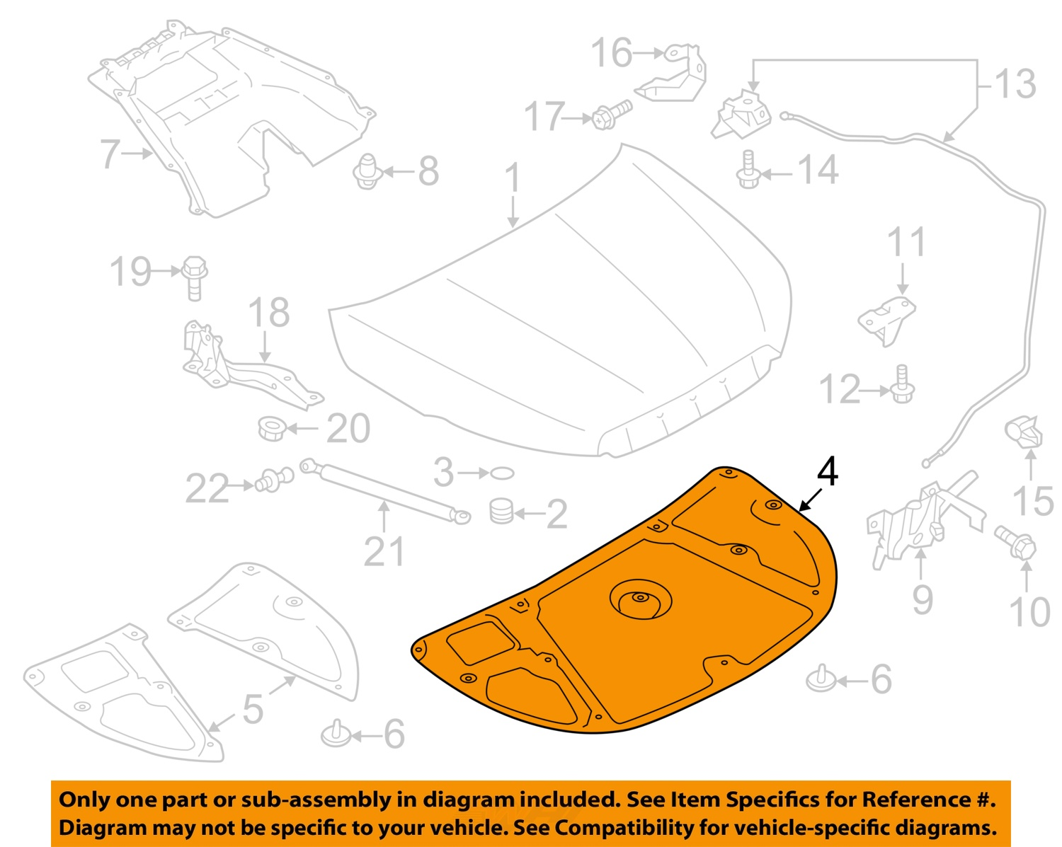 SUBARU OEM 14 16 Forester Hood Insulation Pad Liner Heat