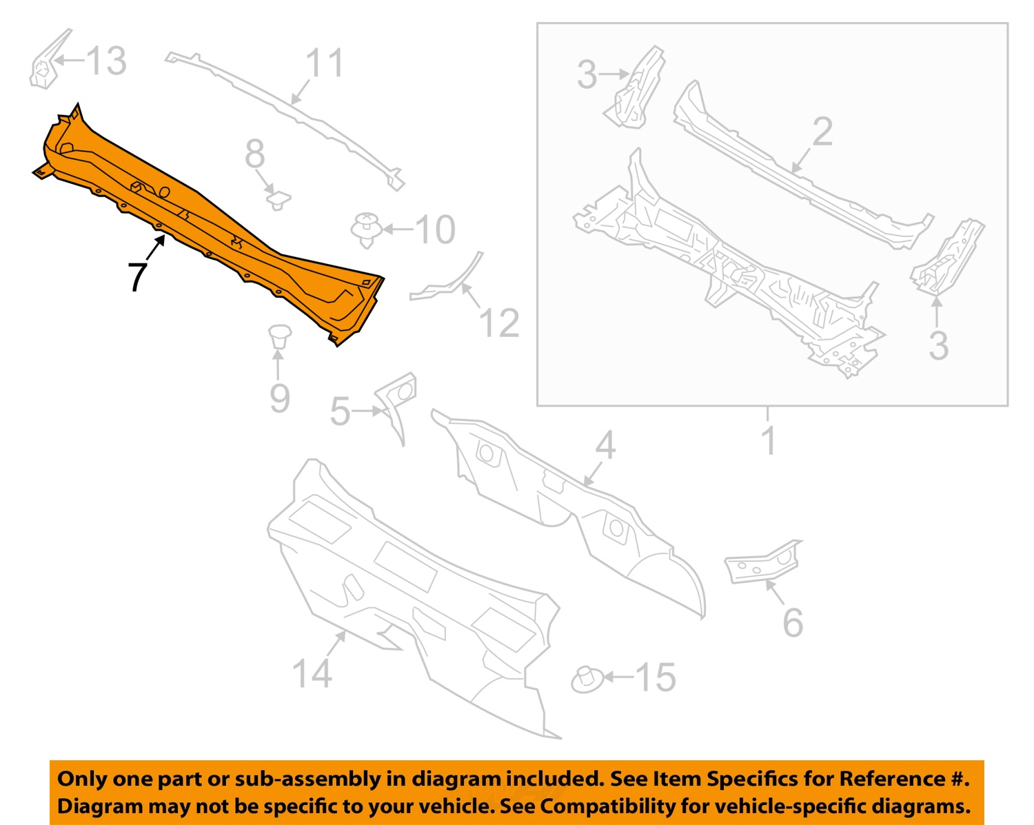 Subaru Oem 14 16 Forester Cowl Panel Windshield Wiper