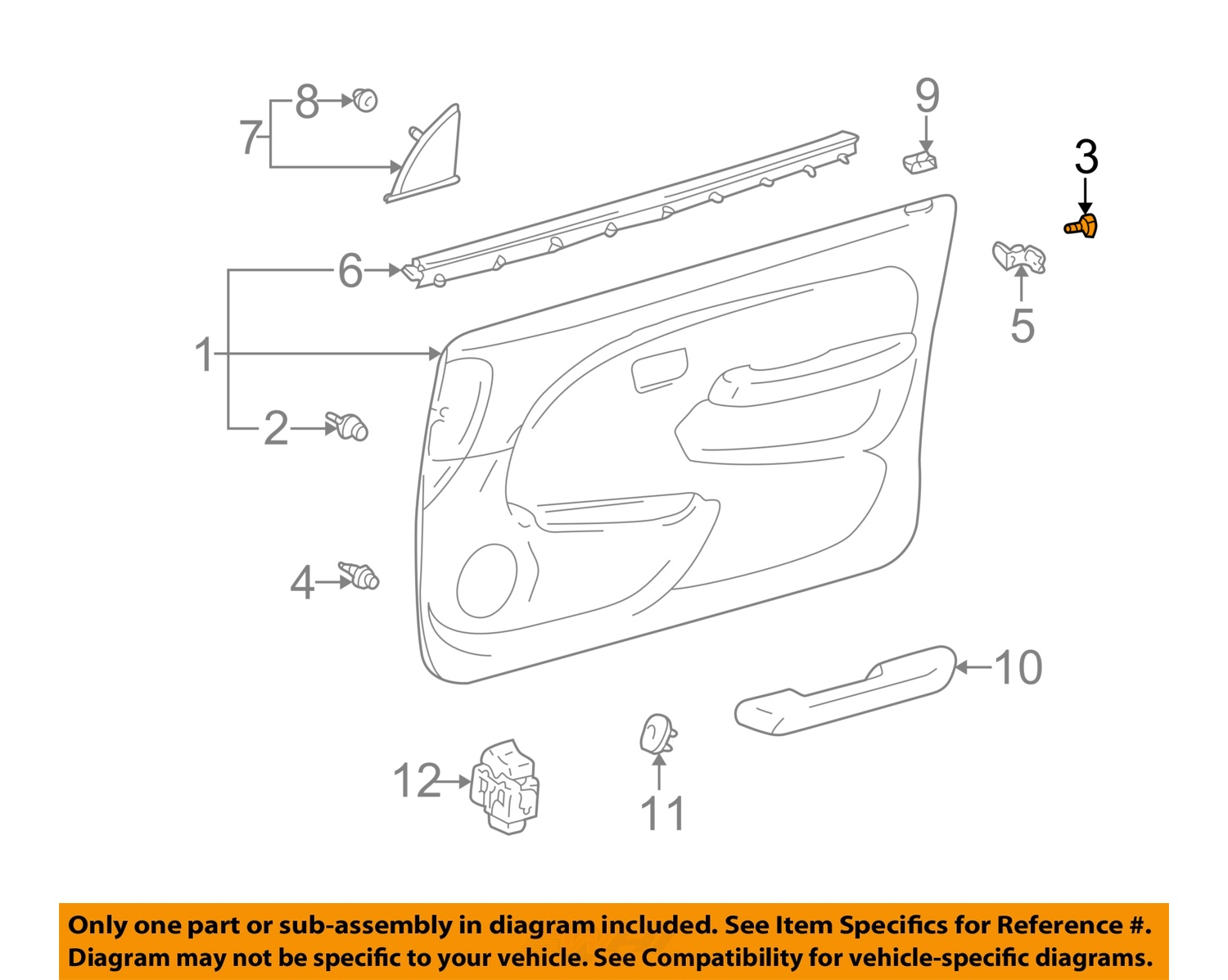 Toyota oem 4runner interior front door trim panel assembly - Toyota 4runner interior trim parts ...