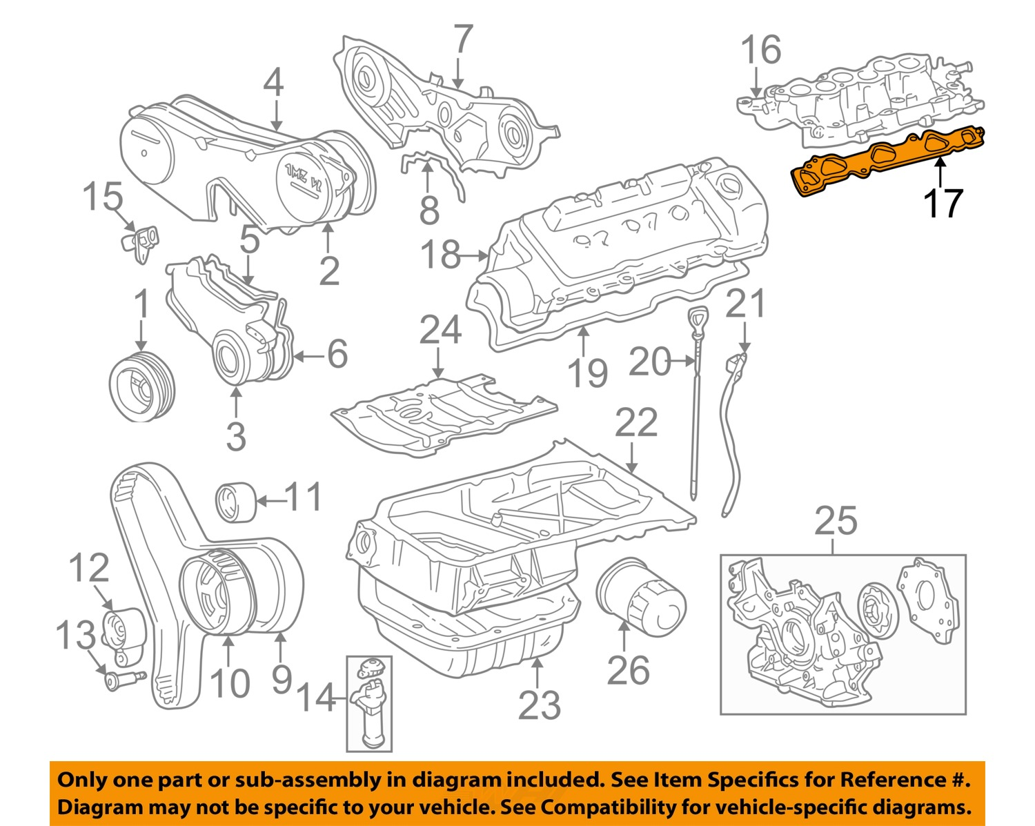 Sell Toyota Oem Engine Intake Manifold Gasket 1717820020 Motorcycle With Diagram