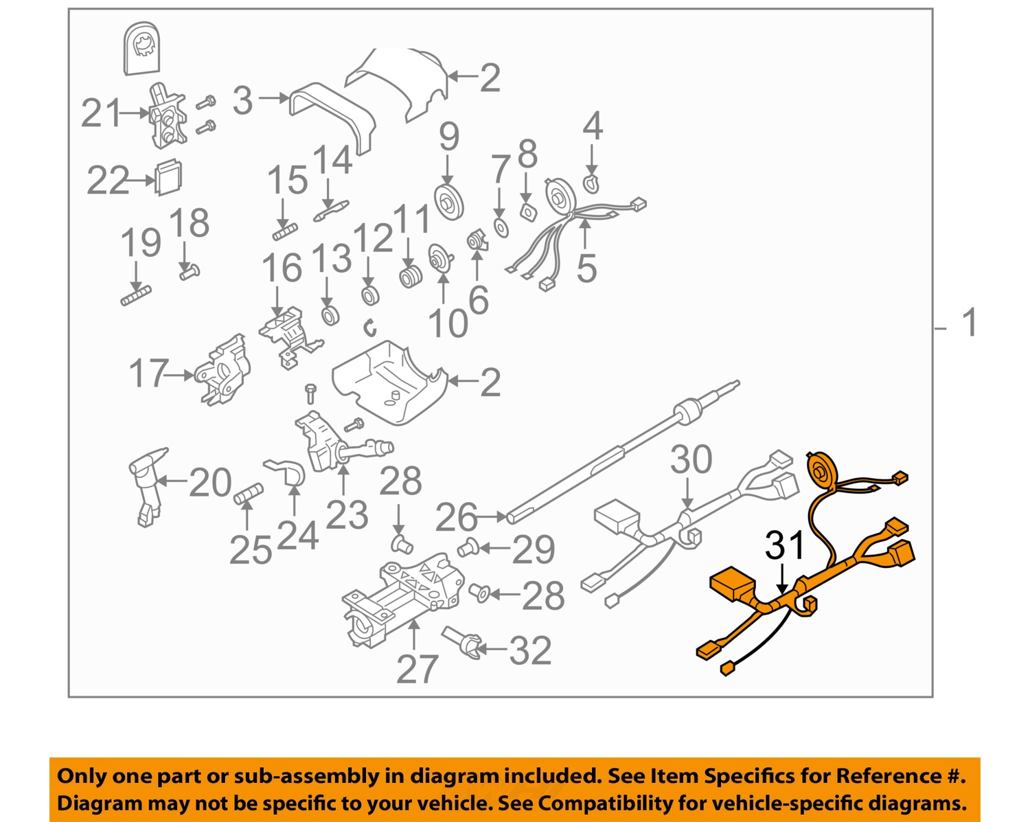 buick gm oem 04 06 rainier steering column wire harness 26105770 buick gm oem 04 06 rainier steering column wire harness 26105770