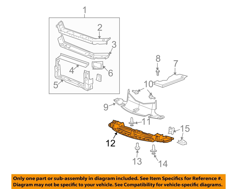 Pontiac    GM 04 08    Grand       Prix       Radiator    Support Lower Deflector 15246564   eBay