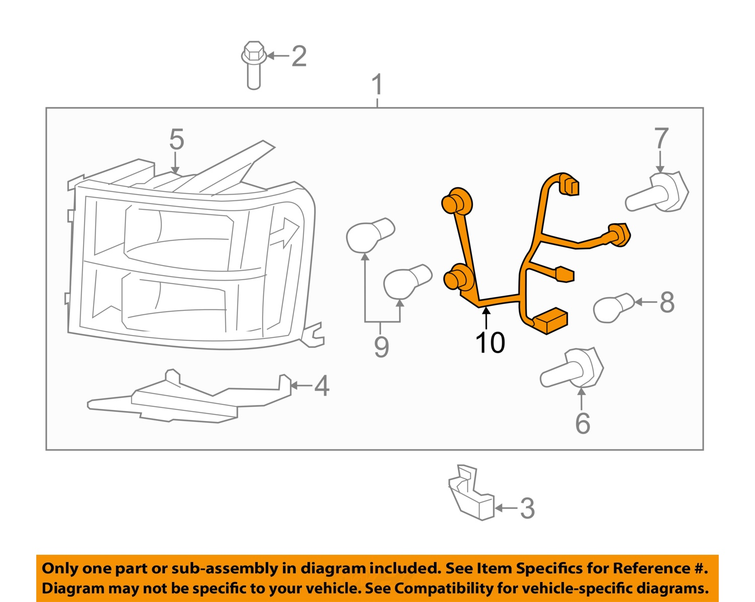 2007 2013 gmc sierra headlight wiring harness new gm. Black Bedroom Furniture Sets. Home Design Ideas