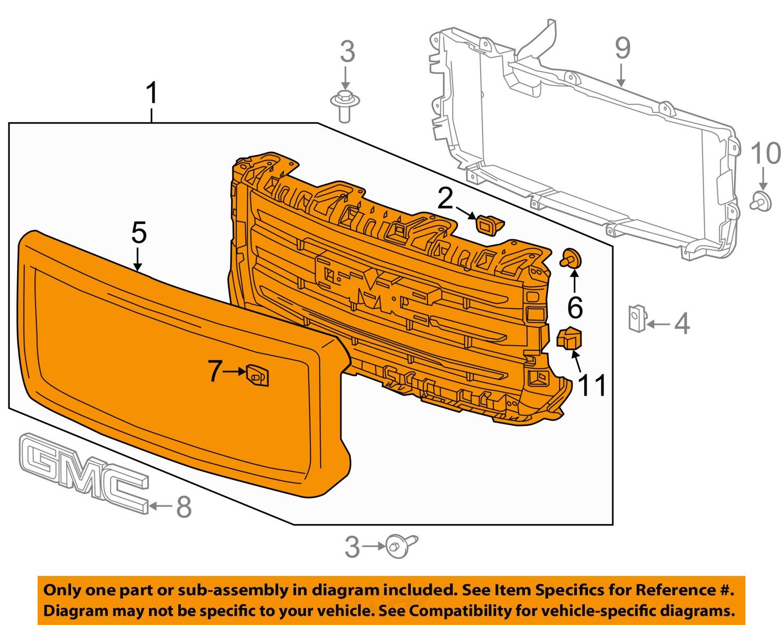 gmc gm oem 14 15 sierra 1500 grille 23173253 ebay. Black Bedroom Furniture Sets. Home Design Ideas