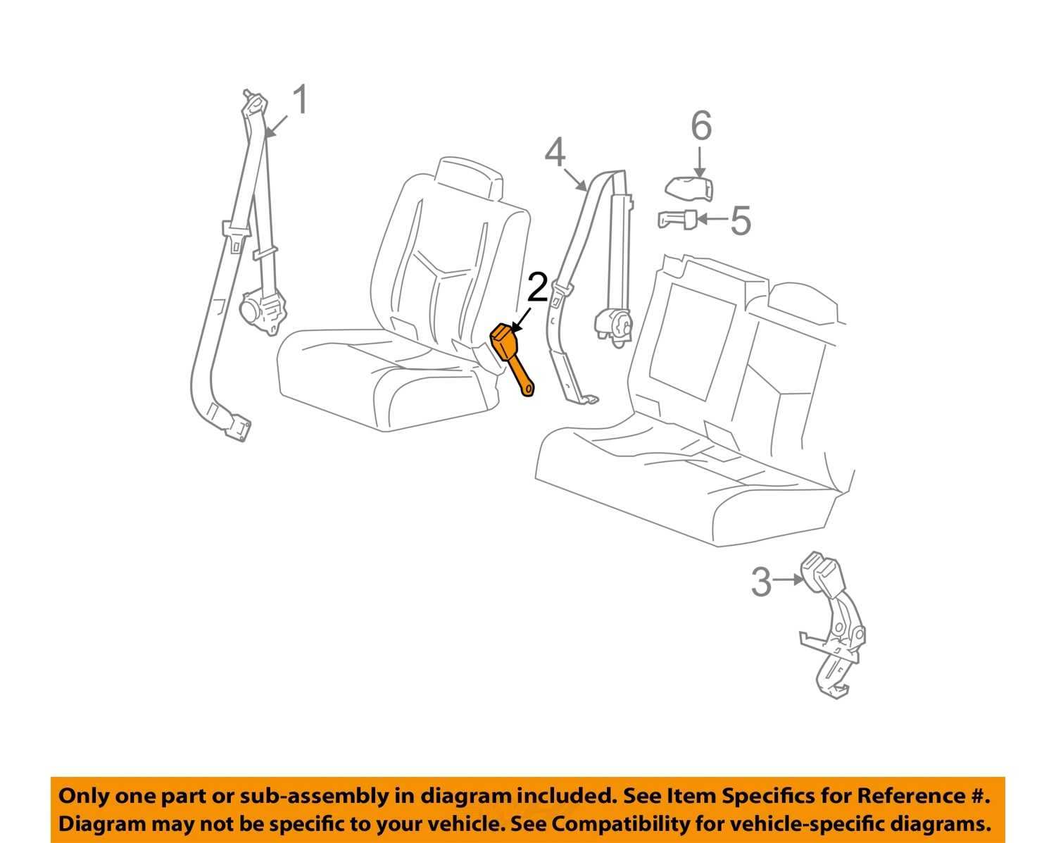Image is loading gm oem rear seat belts buckle end right