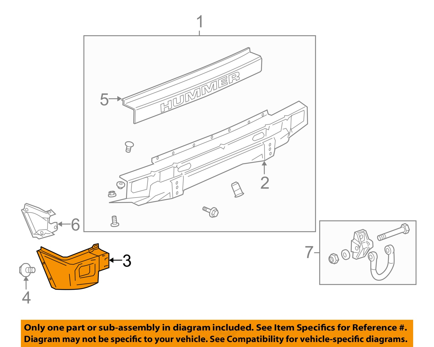 Hummer gm oem 03 05 h2 rear bumper end cap right 12335666 ebay 3 on diagram only genuine oe factory original item vanachro Images