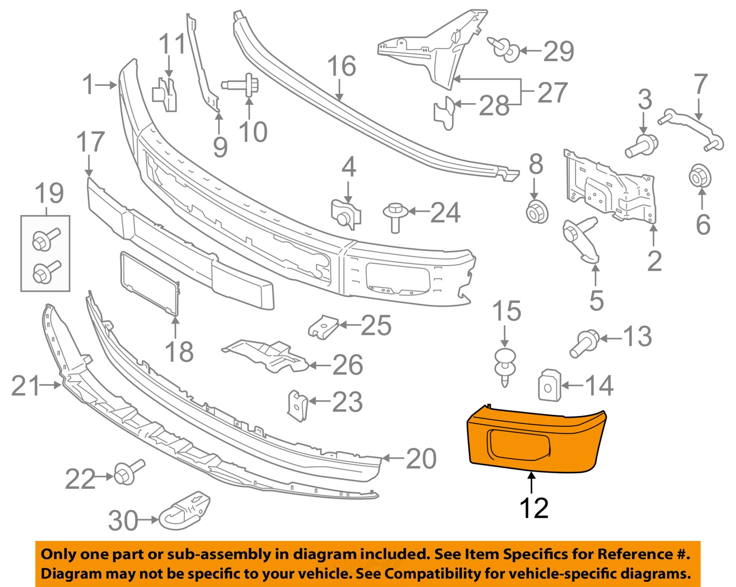 Ford Oem Parts : Ford oem f front bumper end cap molding right