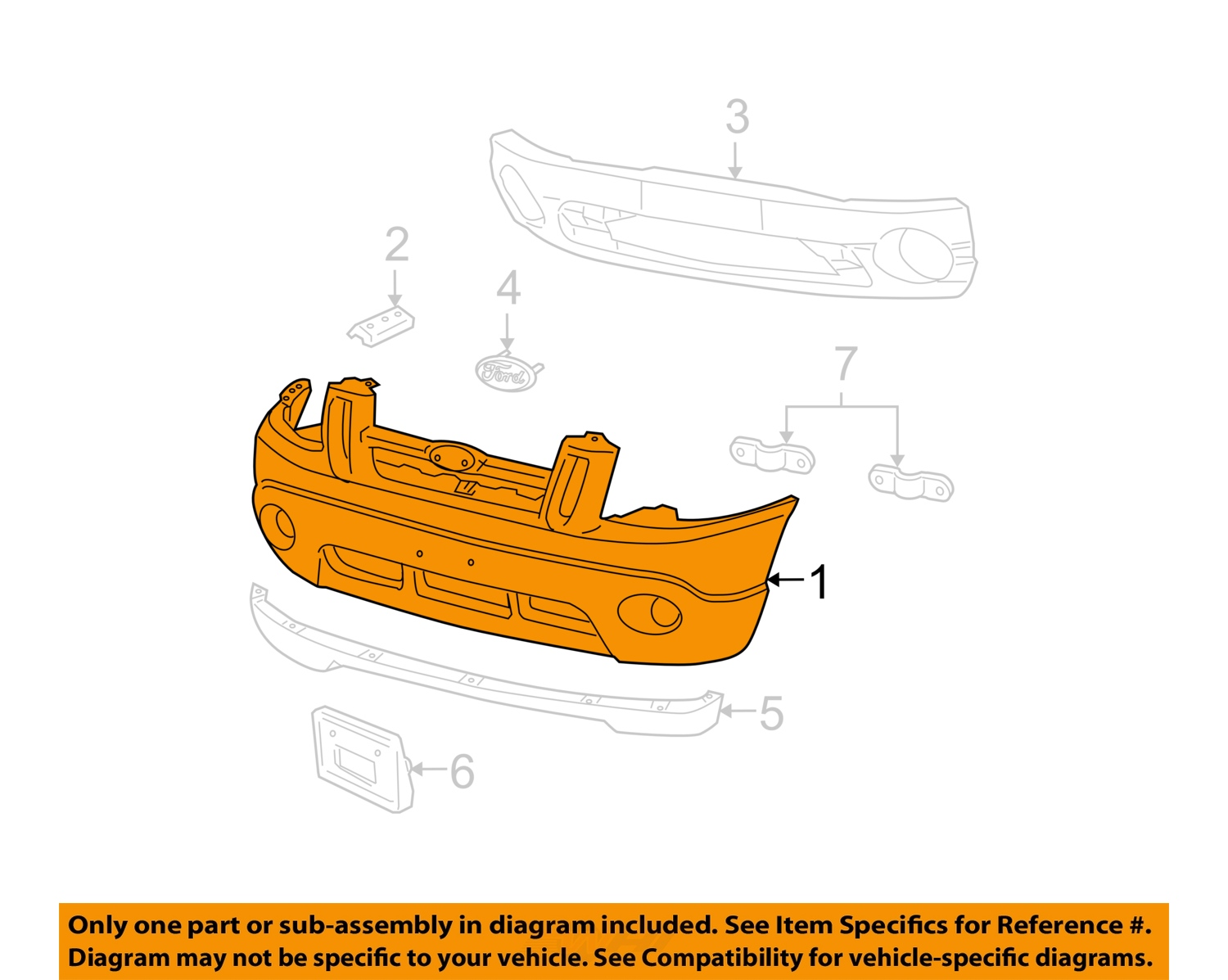 Ford Oem 04 05 Explorer Sport Trac Bumper Cover 4l5z17d957gaa 2005 Engine Diagram Image Is Loading